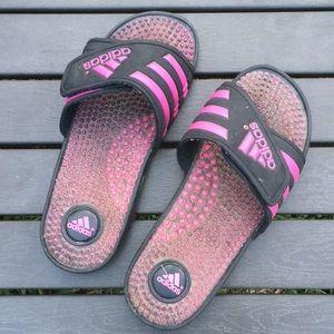 Adidas Ladies size 6 Black & Pink slip ons NICE!